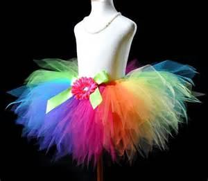 Vintage Flower Dresses - candy colorful rainbow pixie cut girls tutu skirt