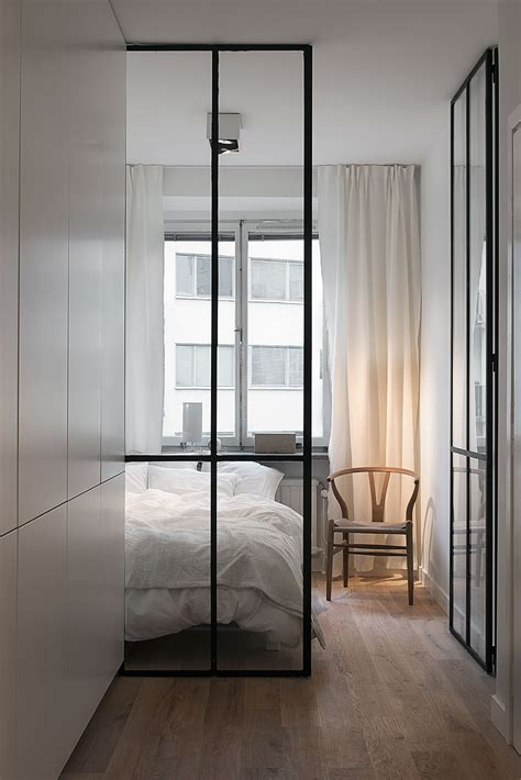 bedroom with glass walls stylish 420 square foot small apartment with modern