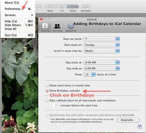 Adding Birthdays To Calendar How To Add Birthdays In Mac Address Book And Ical Calendar