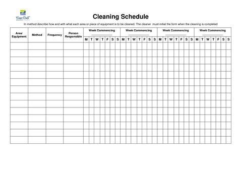 Equipment Schedule Template