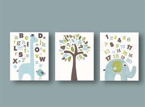 boy room wall decor alphabet giraffe numbers elephant bird tree by galerieanais