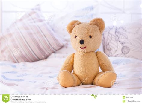 bear bed teddy bear on bed stock photo image 46607223