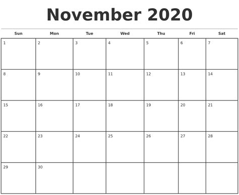 Monthly Calendar November 2020 Monthly Calendar Template