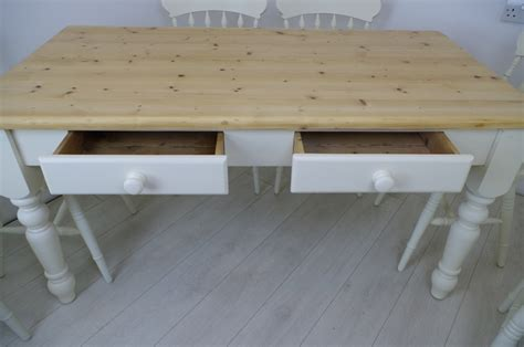 pine farmhouse table with 2 drawers and 6 beech spindle