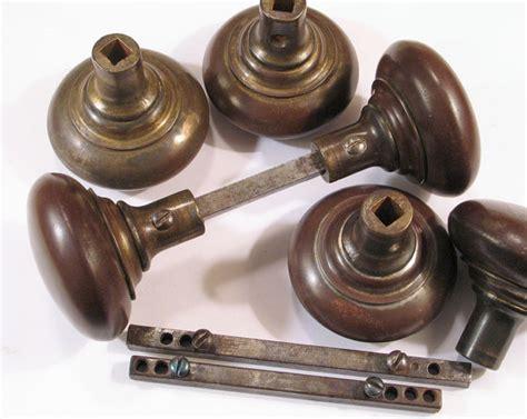 Door Knob Set Screws by Vintage Pr Iron Door Knobs W Rod Set Screws Antique