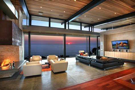 panoramic view modern living room interior design