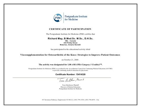 Patient Participation Letter Letter And Certificate Of Completion Viscosupplementation For Osteo