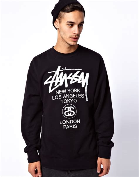 Hoodie Sweater Stussy 1 lyst ymc stussy crew neck sweatshirt world tour in black for