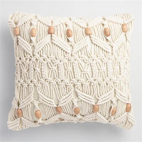 macrame pillow macrame and wood bead indoor outdoor throw pillow world