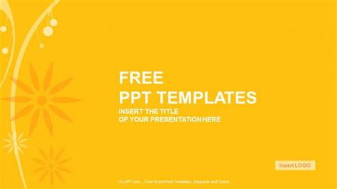 widescreen powerpoint templates orange floral abstract