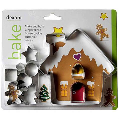 make it bake it kits dexam make bake gingerbread house cookie cutter kit 10 pieces from cookware