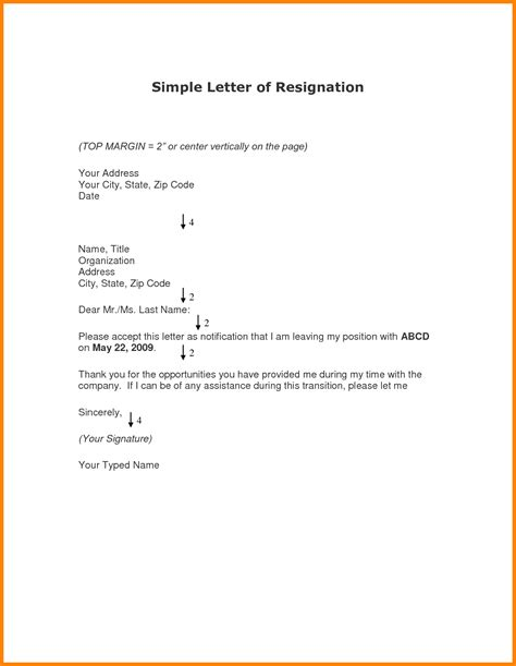 simple letter template 8 simple resignation letters appeal leter