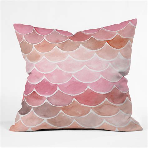 pink couch pillows pink mermaid scales throw pillow wonder forest