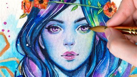 watercolor woman tutorial watercolor painting underwater youtube