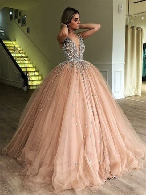 ball gown sleeveless  neck beading tulle sweepbrush