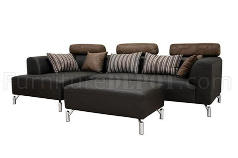 black leather modern sectional sofa set w microfiber headrests