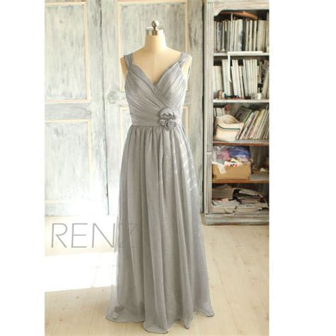 Xy61763 V Neck Chiffon Dress Gray 2015 grey bridesmaid dress gray wedding dress chiffon