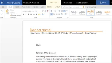 letter recommendation templates word