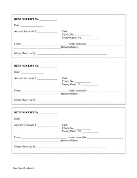 prepaid rent receipt template monthly rental payment receipt template pdf