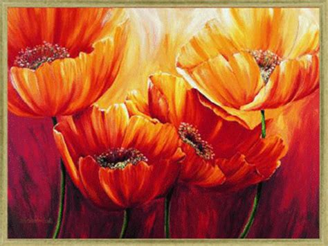 Neutral Wall Colors For Bedroom - red poppy painting with crystals