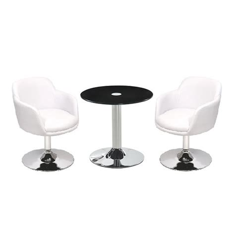 Glass Bistro Table And 2 Chairs Belize Glass Bistro Table In Black And 2 White Bucketeer