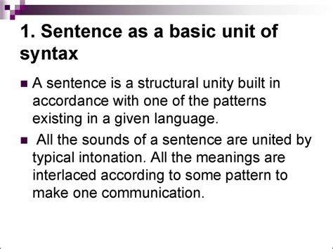 sentence patterns discussion syntax introduction into basic notions online presentation