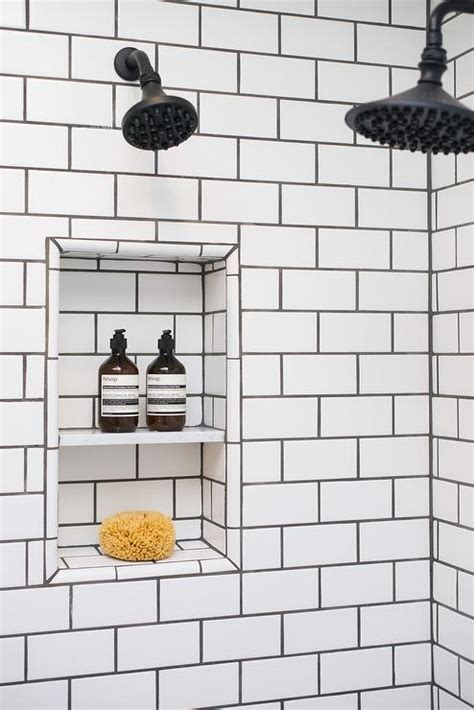 White Bathroom Tiles With Black Grout shower with white subway tiles and black grout