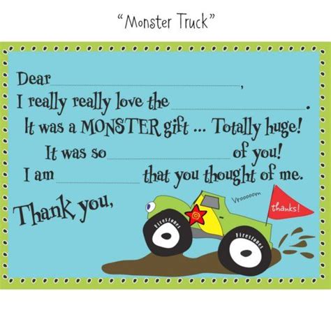 monster truck videos you fill in the blank monster truck thank you notes