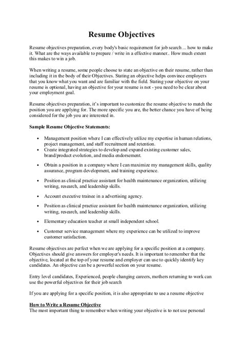 Sle Resume Objectives For Marketing Position Objective Sle For Resume 28 Images Why Resume Objective Is Important Resume Objective