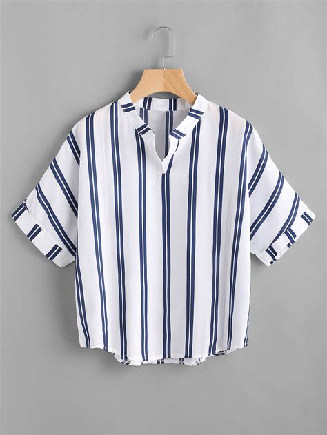 Band Stripe Blouse band collar stripe print blousefor romwe
