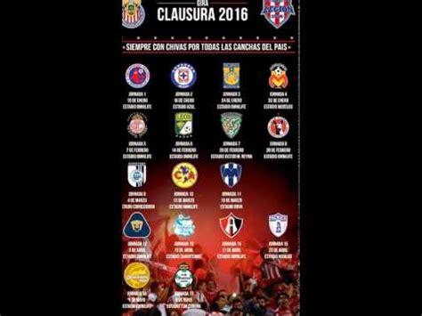 Chivas Calendario Calendario De Chivas 2016
