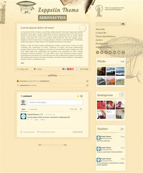 tumblr themes free classic zeppelin vintage style tumblr theme by cloudsthemes