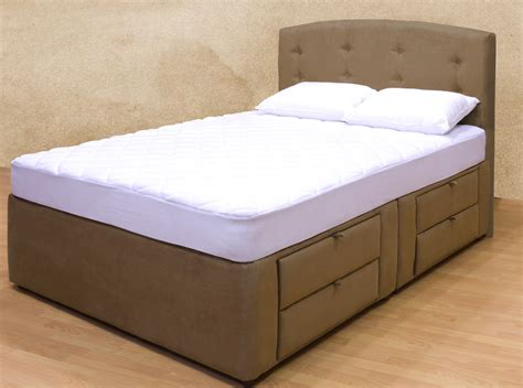 King Size Storage Bed Frame Brown Upholstered King Size Bed Frame With Tiered Drawers 4 Storage Decofurnish