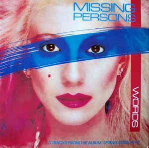 missing persons words vinyl at discogs