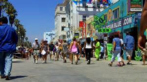Cardboard Chairs Video Tourist Crowd And Shops On Venice Beach Boardwalk