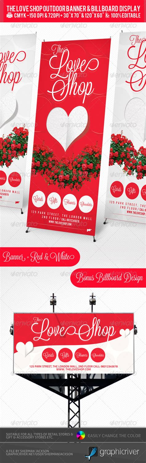 gift store outdoor banner billboard design psd