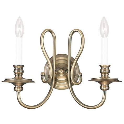 Antique Brass Light Fixtures Antique Brass Livex Caldwell 2 Light Wall Sconce Candle Style Fixture 5162 01 Ebay