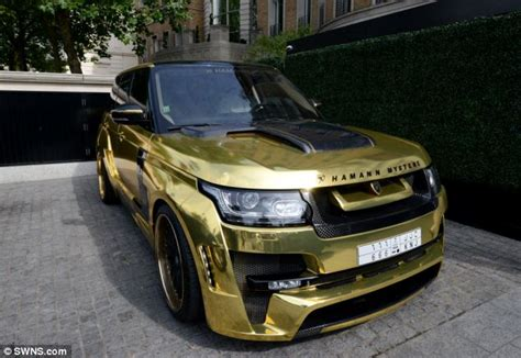 black and gold range rover gold range rover with a 666 number plate flown in by
