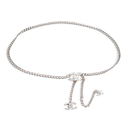 chanel enamel cc chain logo belt silver white 57202
