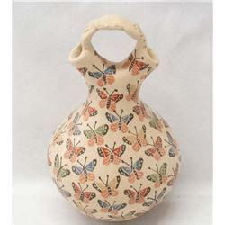 Mexican Wedding Vase by Mexican Mata Ortiz Butterfly Wedding Vase By