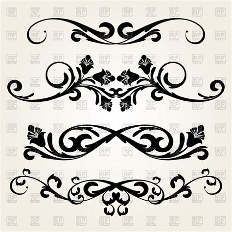 Decorative Curls by Decorative Borders With Curls And Flowers Vector Image 64448 Rfclipart