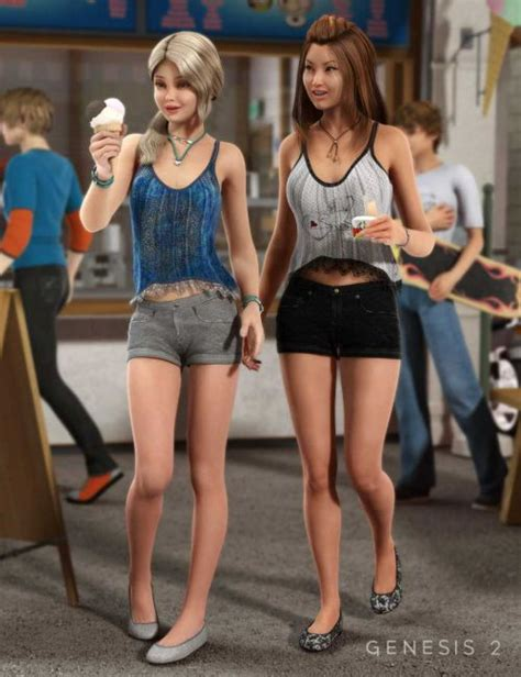 vinput lolicon weekend fun outfit textures 3d models for poser and daz