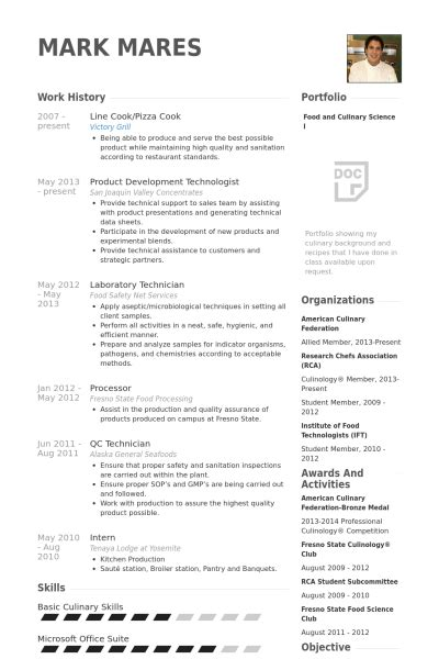 Sample Resume For Line Cook – Pin Line cook resume sample image search results on Pinterest
