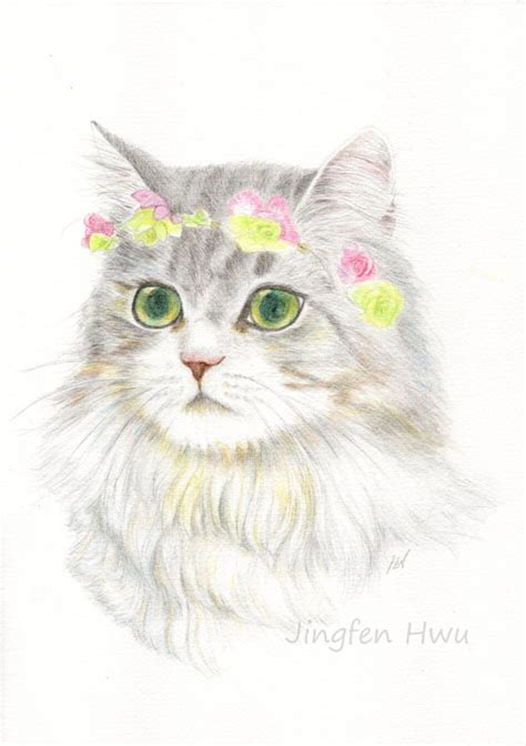 Flower Crown A3 cat print of cat drawing a bohemian princess with