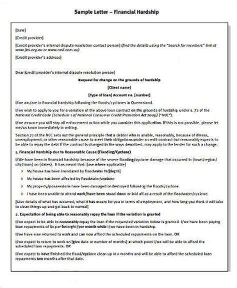Credit Dispute Letter For Student Loans Sle Financial Hardship Letter 9 Exles In Word Pdf
