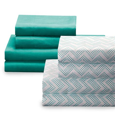 sears bed sheets colormate 2 pk sheet set turquoise dotted chevron