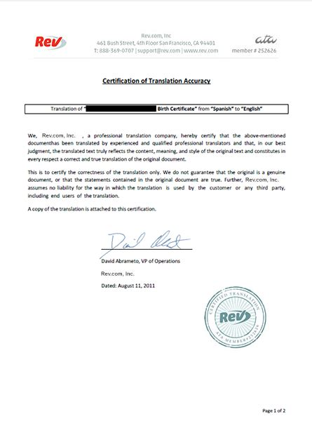 certification letter for translation birth certificate translation service rev