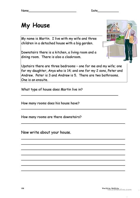 my reading describing my house worksheet free esl printable