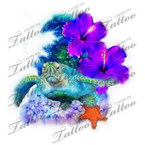 realistic hibiscus ocean coral reef turtle in stunning