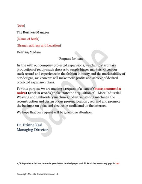 Company Loan Letter Template Business Loan Application Letter Sle Free Printable Documents